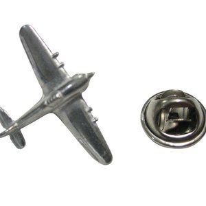 Silver Toned Textured Hurricane Plane Lapel Pin